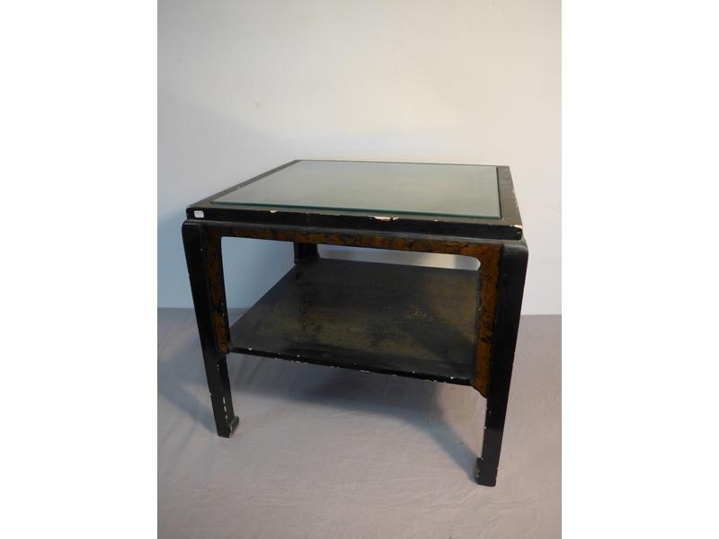 Table basse carr e en bois laqu noir et or - Cote table vente en ligne ...