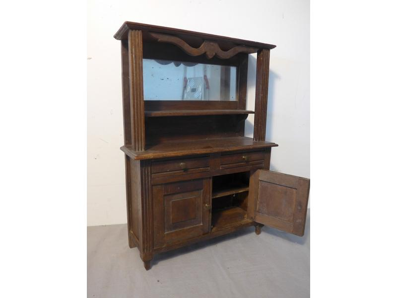 buffet dressoir de poup e en bois teint miroir. Black Bedroom Furniture Sets. Home Design Ideas