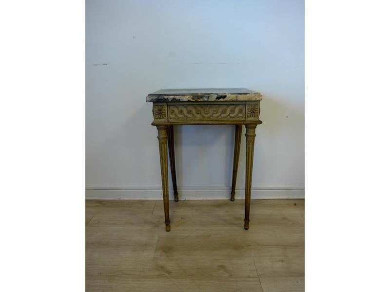 Petite table console en bois laqu gris un tiroir - Cote table vente en ligne ...