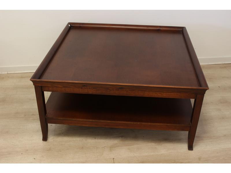 Table basse carr e en bois exotique deux pl - Table basse exotique ...