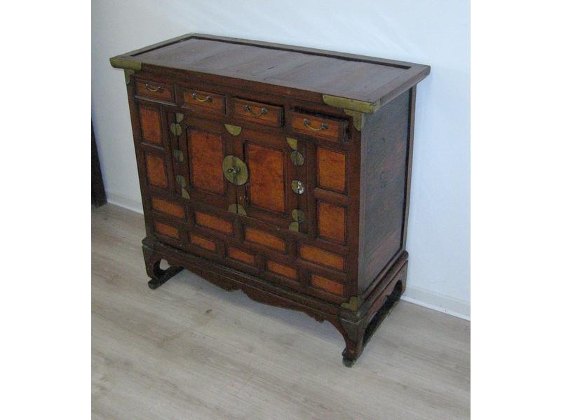 Buffet coffre en bois exotique et placage de loupe for Placage de bois exotique