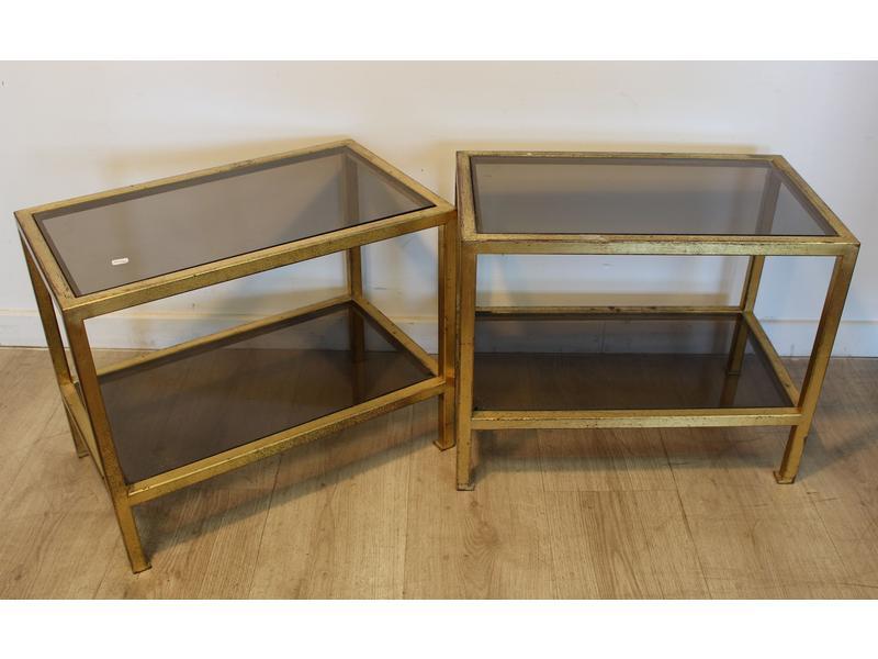 paire de petites tables basses rectangulaires. Black Bedroom Furniture Sets. Home Design Ideas