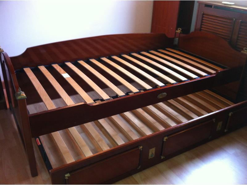 Lit a tiroir une place en placage d 39 acajou style - Lit une place tiroir ...