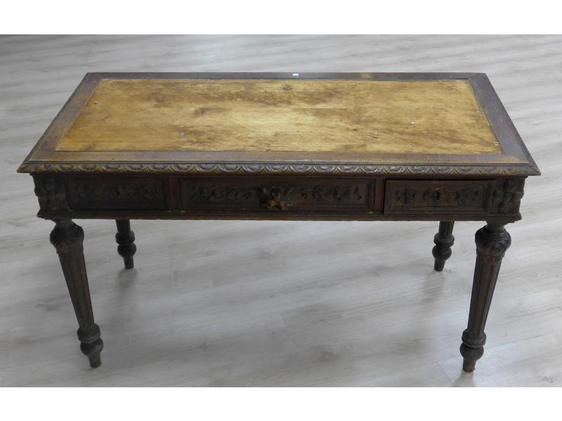 Table bureau rectangulaire en ch ne moulur et - Cote table vente en ligne ...