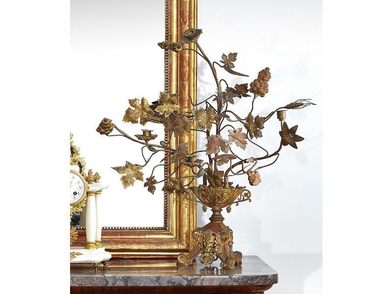 chandelier en bronze et t le dor six bras de. Black Bedroom Furniture Sets. Home Design Ideas