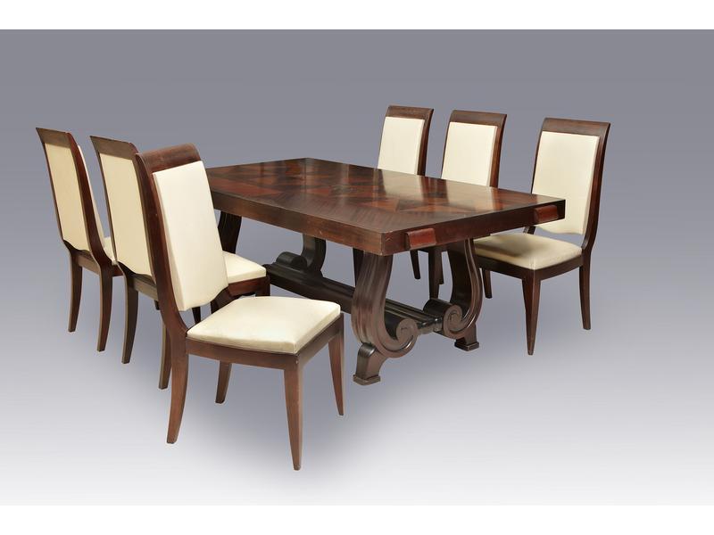 six chaises dossier renvers en bois exotique. Black Bedroom Furniture Sets. Home Design Ideas