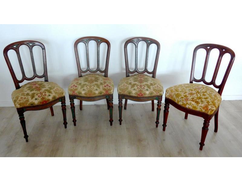 quatre chaises en ch ne moulur cir rechampi. Black Bedroom Furniture Sets. Home Design Ideas