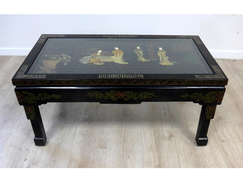 Table basse rectangulaire en bois laqu noir incrustr - Cote table vente en ligne ...